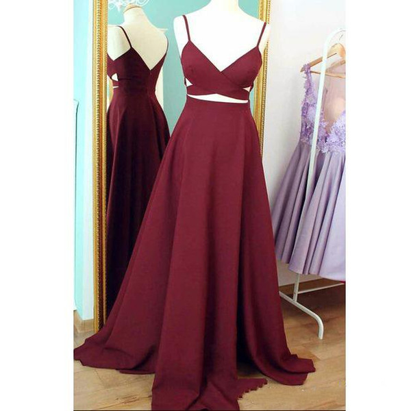 Burgundy A-line Elegant Long Evening Dresses V Neck Spaghetti Straps Girls Teens Formal Prom Dresses Evening Wear Custom Made Free Shipping
