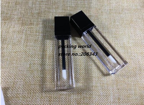 Tubo cuadrado del lustre del labio del tubo del labio de la forma 7ml con la tapa negra para el aceite del labio / el embalaje cosmético del lustre del labio
