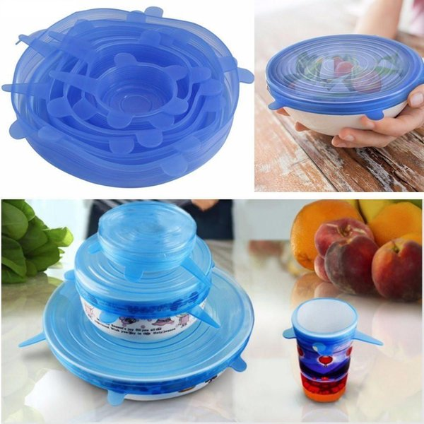 6PCS ReusableSilicone Saran Wrap Food Fresh Keeping Saran Wrap Kitchen Tools Silicone Food Wrap Seal lid Cover Stretch