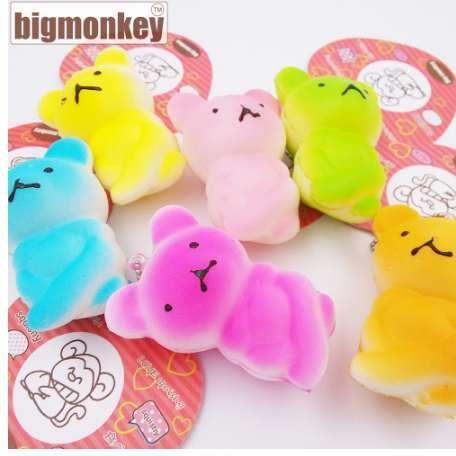 Big monkey NEW 40pcs/Lot, 6CM slow rising PU corful Kawaii Mini embrace bear Squishy Cell Phone Charm with tag