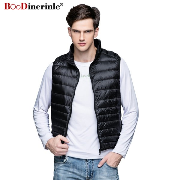 BOoDinerinle Nuevo mens chaqueta sin mangas de invierno Ultralight 90 White Duck Down Chaleco Outwear Hombre Parka Chaqueta Pluma Hombre YR060
