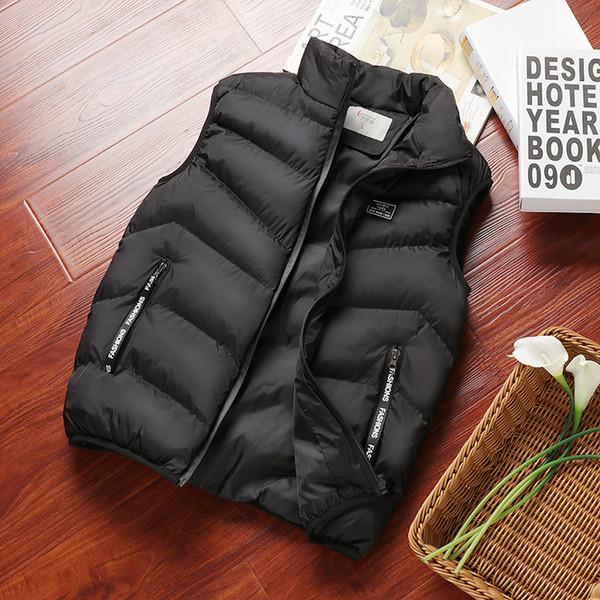 2018 Autumn Winter Hot sale Vest Men's Fashion Warm Sleeveless Jacket Men Stand Collar Casual Waistcoat Thicken Wadded Vest Coat