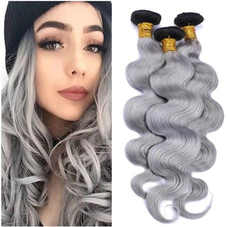 Ombre Silver Grey Indian Human Hair Weaves Body Wave Wavy 3Bundles Deals Dark Rooted Two Tone #1B/Grey Ombre Virgin Human Hair Extensions