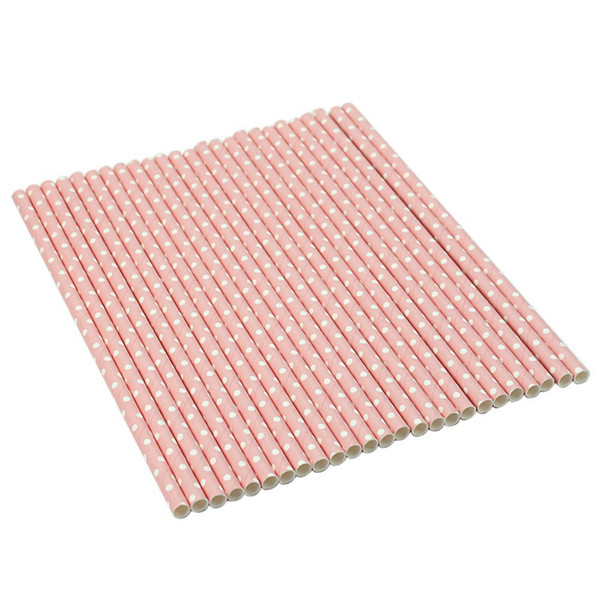 25pcs Party Paper Straws Wedding Paper Dotted Drinking Straws (Pink)