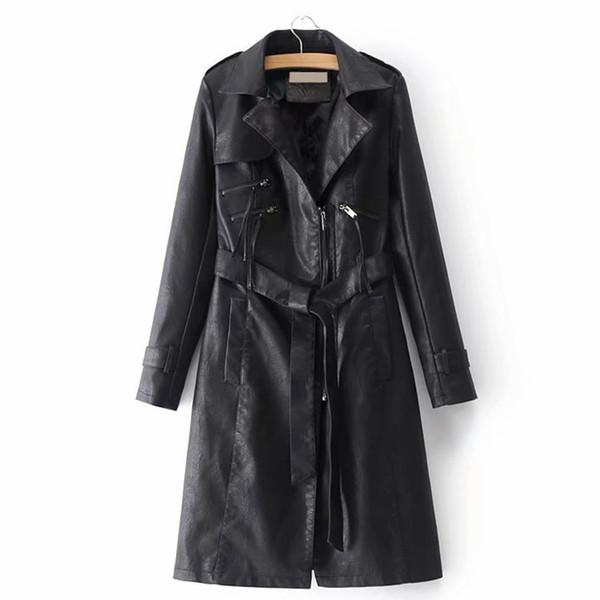 ANSFX Élégant Faux Cuir Long Trench Jacket Col rabattu Écharpes Attaché Bow Manches Longues Manteau Femmes Outwear PU Tops 4 Couleurs