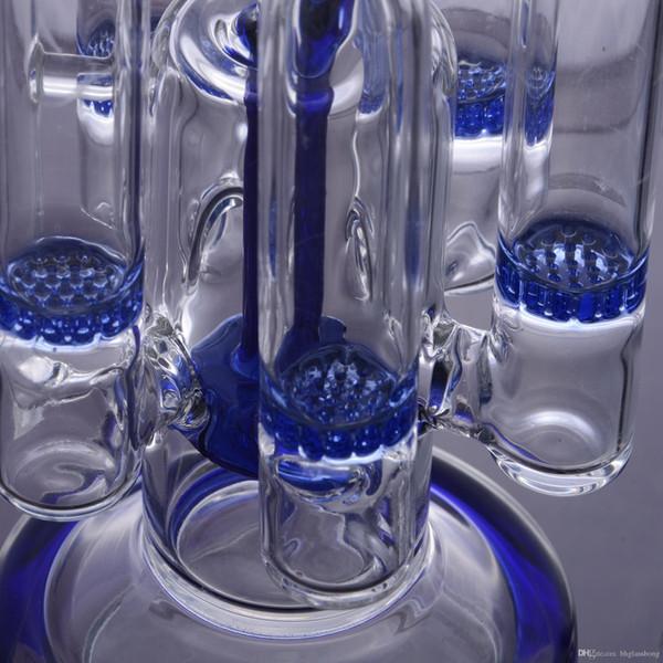 Mais novo azul Bongos De Vidro 5 Favo De Mel Percs Pneu Perc Design Criativo Recicladores plataformas de petróleo Bongos Taça Tigela Plataformas Petrolíferas Bongos Tubos De Água cachimbos de água