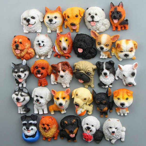 5Pcs/lot Cartoon Cute Husky Bulldog Fridge Magnet Kid Early Education Pet Dog Magnetic Stickers For Fridge Resin Figure Sticker Suppliers