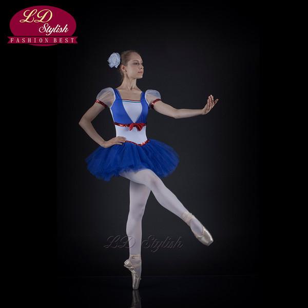 Profissional Vestido de Balé Gaze Fios Macio Macacão Azul Desempenho Palco Solo Novo Bluebird Adulto Crianças LDStylish LD0010I