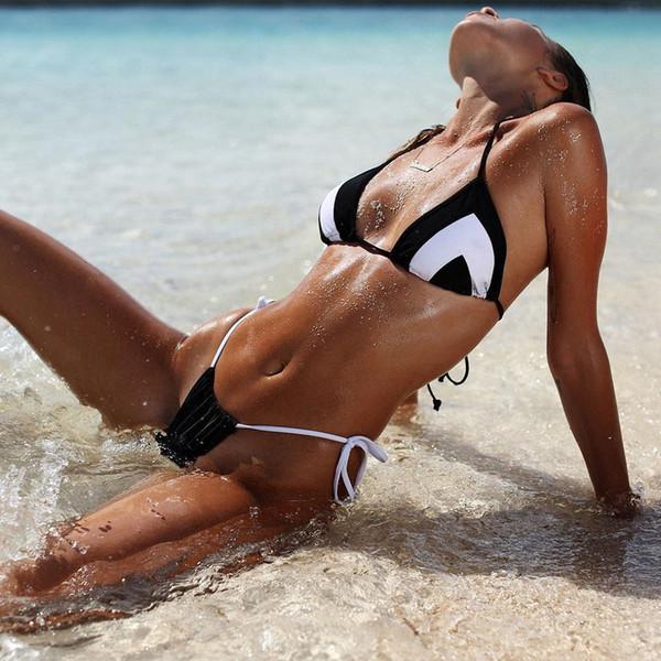 Venta al por mayor 2018 Sexy Bikinis 2Colors Mujer traje de baño traje de baño Halter Top Plaid Brazillian Bikini Set traje de baño Verano Beach Wear Biquini