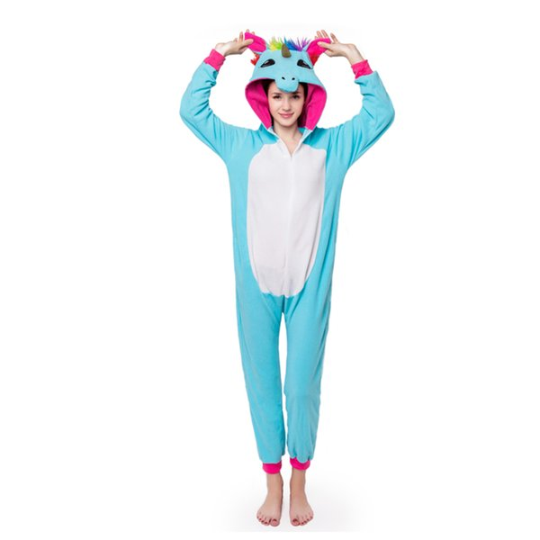 0feaa5b37 Adults Animal Pajamas Sets Cartoon Sleepwear Cosplay Zipper Women Men  Winter Unisex Flannel Panda Unicorn Pajamas Kigurumi