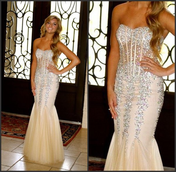 Sweetheart Tulle Major Beaded Mermaid Champagne Colored Prom Dresses Exposed Boning Evening Gown robes de soiree tendance longue