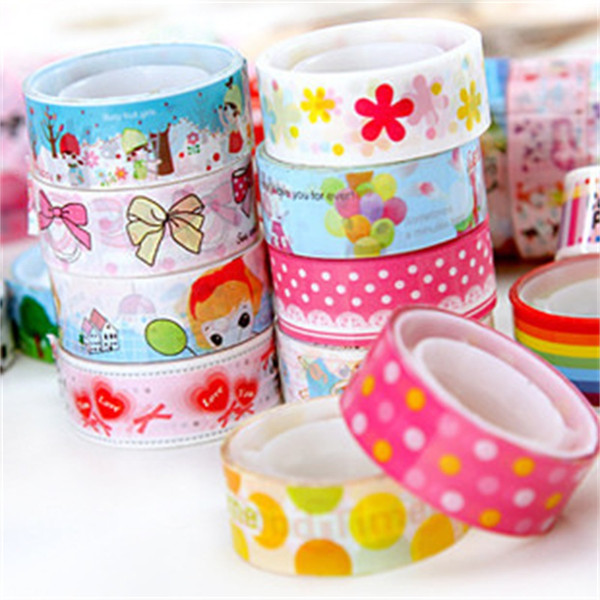 top popular MIX COLOR Patterns Tape Christmas and flower Print Deco DIY Adhesive Masking Tape,Japanese Washi Tape Paper Wholesale 2016 2021