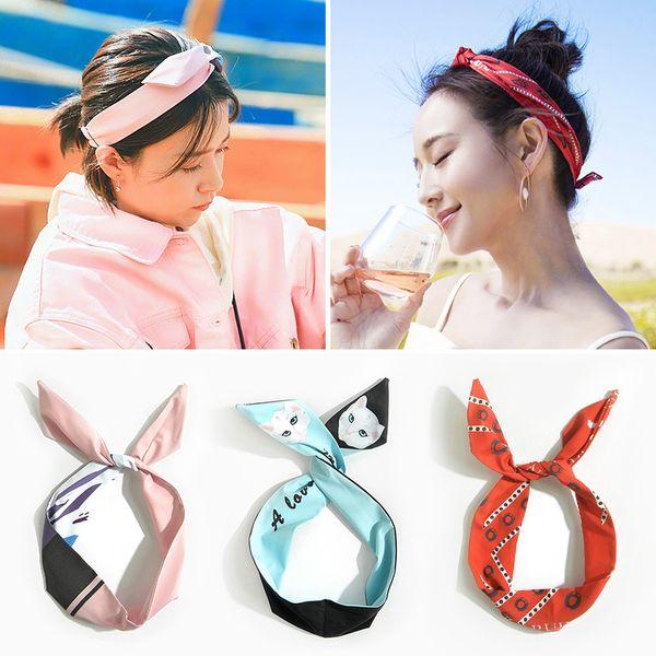 Corea moda coniglio orecchie da coniglio scrunchie donne ragazze arco fascia capelli testa fasce hoop accessori per le donne hairband copricapo