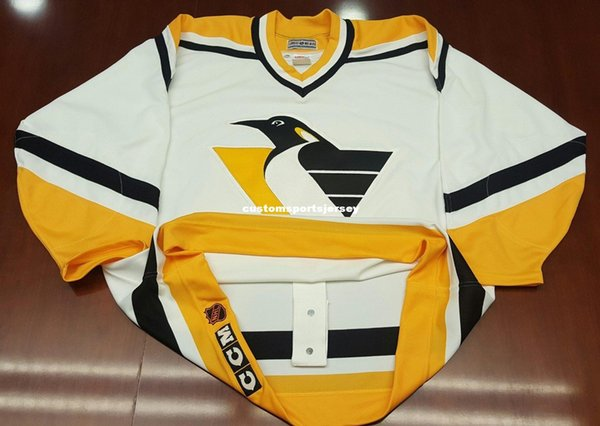Cheap custom Pittsburgh Penguins Vintage CCM Center Ice Jersey Robo Pens Stitched Retro Hockey Jersey Customize any name number XS-5XL