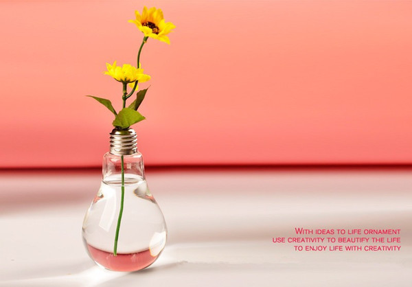 Light Bulb Glass Vase Terrarium Vases Cute Flower Pots Tabletop Modern Vaso Wedding Floor Air Planter Decorative Vase Free Shipping