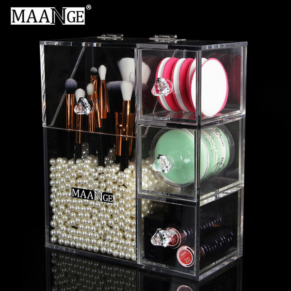 Acrylic Makeup Organizer Clear Holder Case MAANGE Lipstick Nail Polish Rack Cosmetic Storage Box Make Up Brushes Holder Stand Tools