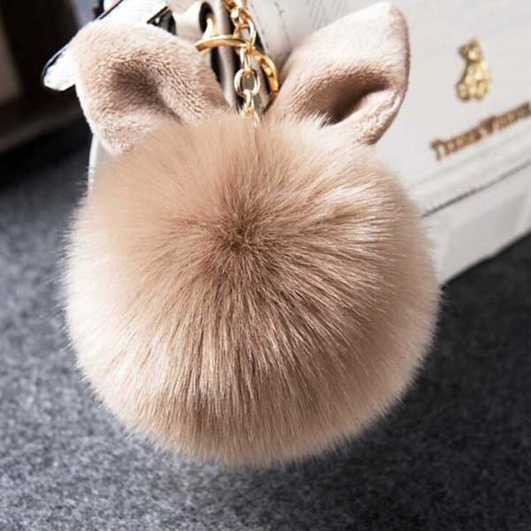 Fluffy 1Pcs Faux Rabbit Ear Keychain Gold Chain Cartoon Pompom Fur Ball Keyring Artificial Rabbit Fur KeyChain Women HandBag YSZ