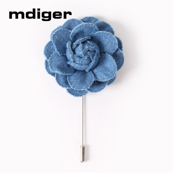 Wholesale Flower Brooches Pins for Men Blue Lapel Floral Pin Brooch of Denim Fabric Flower Style Pin Brooches Mixed 2 PCS/LOT