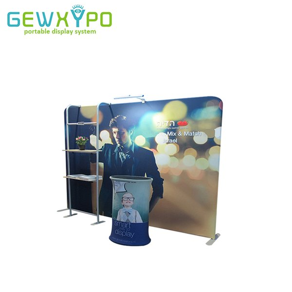 Exhibition Booth 10ft*7.5ft Straight Tension Fabric Advertising Banner Wall Display With TV Stand And Oval Table(Include All)