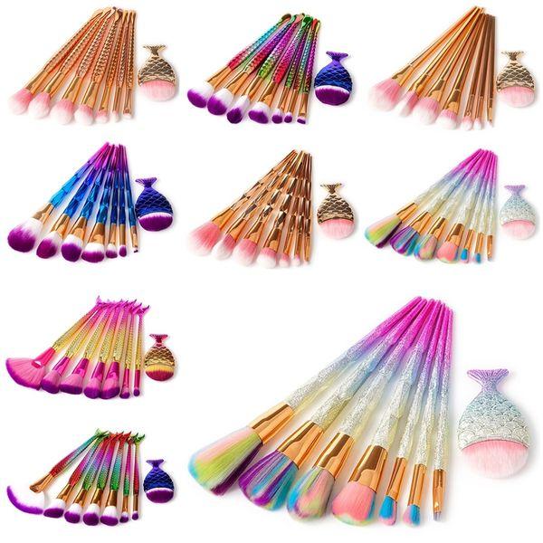 Pennelli per trucco professionale per sirene 8 Pennelli per trucco per cosmetici per PC Set Pennello per diamanti con effetto glitter per kit di pennelli per cosmetici DHL gratuito