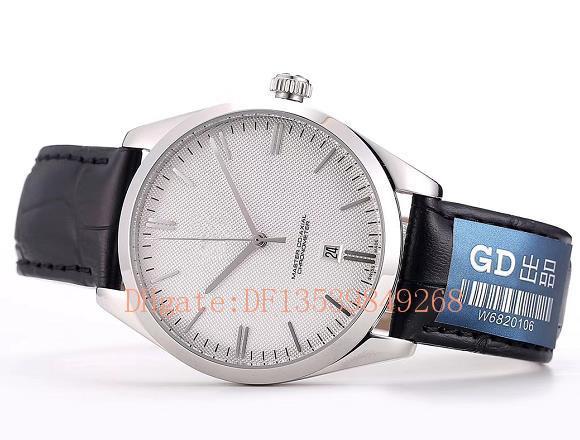 Новый AAA luxury disc fly мужские часы 432.53.40.21.02.002 Япония 8215 автоматический белый циферблат мужские часы розовое золото случае кожаный ремешок