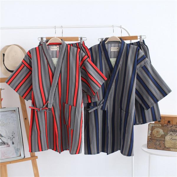 Striped Cotton Couple's Yukata Kimono Pajama Shorts Set for Men and Women Japanese Summer Pijama Spa Bath Yukata Home Sleepwear