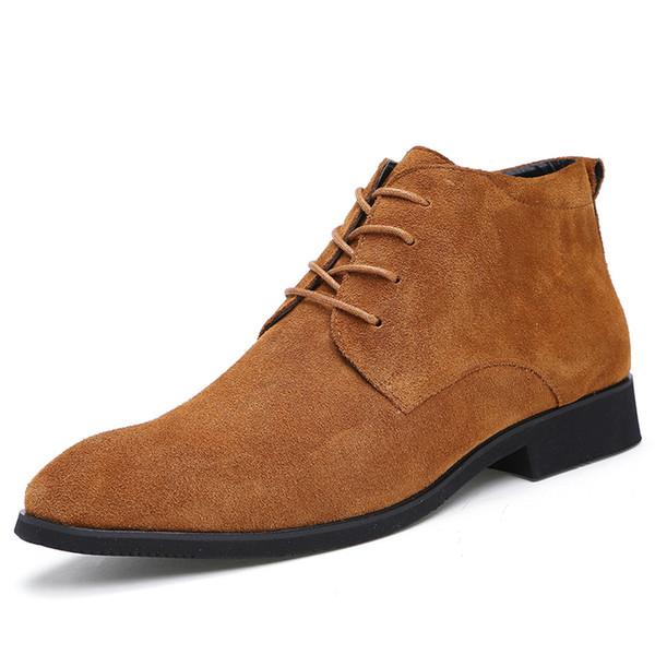 Cuir véritable hommes bottines respirant hommes bottes en cuir High Top chaussures de plein air Casual hommes hiver chaussures Botas