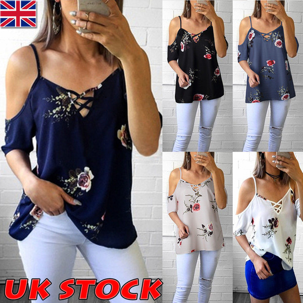 top popular Womens Cold Shoulder Floral Summer Tops Ladies Loose Casual Blouse Tee T Shirt 2019