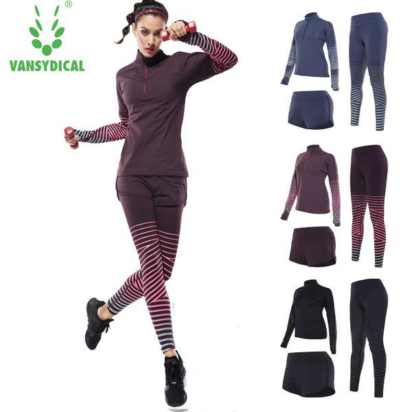 Vansydical new sex Traje deportivo para mujeres Fitness Yoga Set Running Sportswear Medias Entrenamiento Jogging Suit Mujer Ropa Deportiva