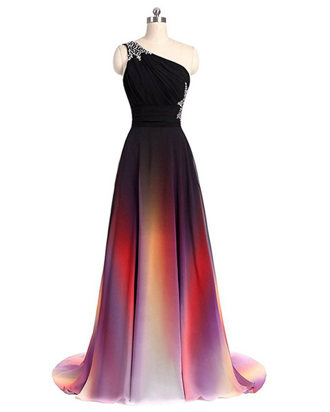 2018 New Sexy One Shoulder Ombre Long Evening Prom Dresses Chiffon A Line Plus Size Floor-Length Formal Party Gown