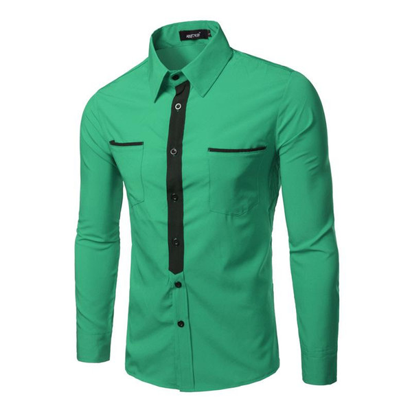 Wholesale- Fake Tie Design Men Shirt 2016 Brand Long Sleeve Pockets Casual Shirts Male Chemise Homme Green Red Business Dress Shirt Men