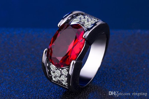 Luxury 925 Sterling Silver Crystal anniversary Black gold Gem ruby Ring for Women Men Wedding Party Punk Gift Trendy Jewelry