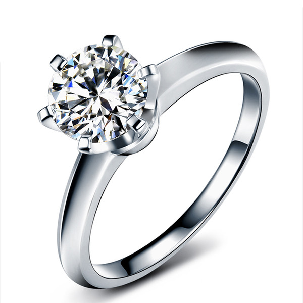 9k, 14k, 18k Moissanite Gold Certified Ring Diamond Test Positivo Classic 6 Garras Crown Design D / F Cor VVS Clareza 3EX Cut Forever Shining