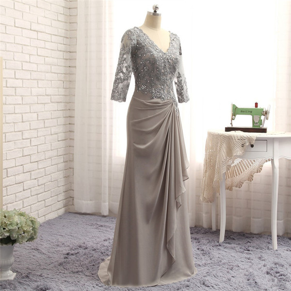 2018 wangyandress grey lace mother of the bride dresses custom beads sheath wedding guest dress with sleeves v neck evening gowns
