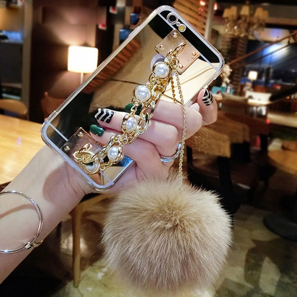 Mirror Luxury Phone Cover Case For Samsung Galaxy Note 9 TPU Soft Cover Note 5 8 4 Hair ball Tassels Chain Gold Silver Rose Pink
