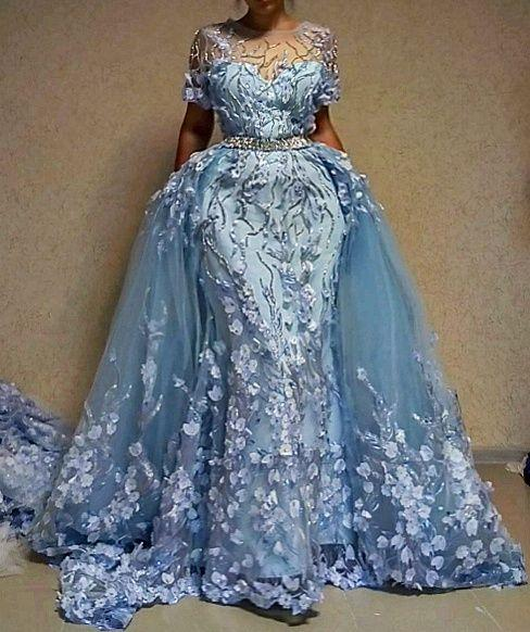 Light Sky Blue Mermaid Prom Dresses with Detachable Train 2018 Plus Size Luxury 3D Floral Flowers Crystal Jewel Puffy Evening Wear Gown