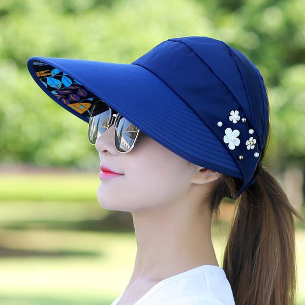 Women Fashion Summer Hat UV Protection Beach Garden Sun Visor Hats With Big Heads Wide Brim Adjustable Outdoor Lady Cap 8hp hh