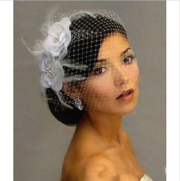 Feather Bridal Birdcage Veil Flower Crystals Wedding Netting Bridal Veil Netting Face Short Feather Flower White Fascinator Bride Hats
