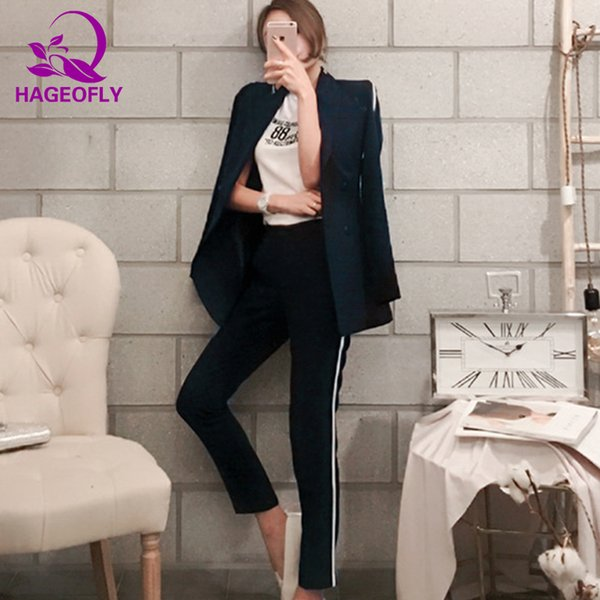 HAGEOFLY Dark Blue Blazer Suit Women Business 2 Piece Interview Suit Set Uniform Long-sleeved Blazer and Pencil Pant OL Suits