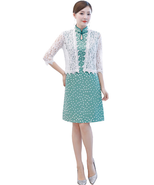 Shanghai Story Two pieces of Dress Green Qipao Chinese Dress Cheongsam Chinese Traditional Clothing Chinese Women's Clothing