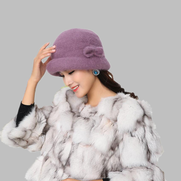 Bayanlar Şık Kış% 100 Tavşan Yün Kadınlar Orta Çağ Kadın Kepçe Fedoras Anne Toptan için Caps İçin Çiçek Floppy Şapka Isınma
