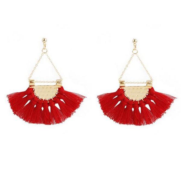 2018 Ethnic Bohemia Drop Dangle Long Rope Fringe Cotton Tassel Earrings Trendy Sector Earrings for Women Fashion Jewelry