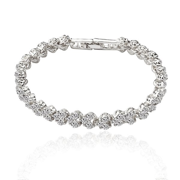 Zircon Bracelet For Women Silver Charm Bracelets & Bangles Femme Bridal Wedding Fine Jewelry Gift Vintage Luxury Crystal Bracelets