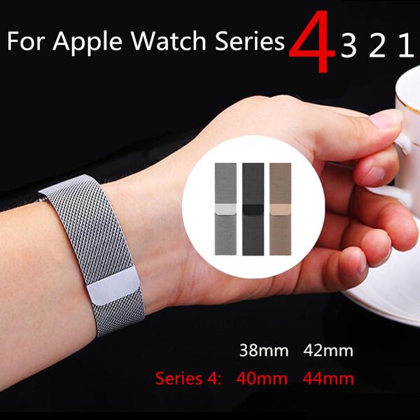 Correa de reloj de repuesto Milanese Loop Band para Apple Watch Serie 4 Pulsera magnética de acero inoxidable con correa de 40mm 44mm para accesorios iwatch