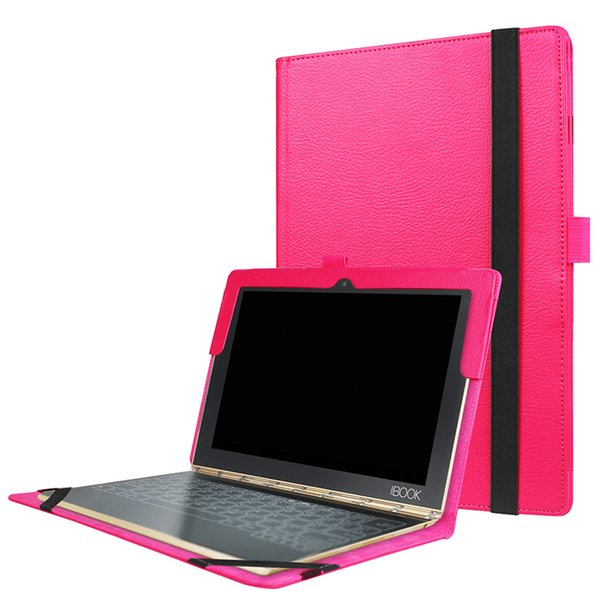 Two Folding Flip Cover for Lenovo Yoga Book 10.1 inch Tablet Funda Litchi Leather Case+Stylus