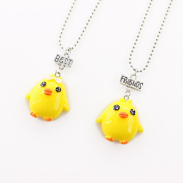 2pcs/Set Friendship Duck Stereo Imitation BFF Necklace For Children Best Friends For Kid Jewelry Gif