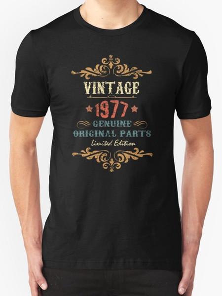 40. Geburtstag Tshirt Vintage 1977 Herren T-Shirt Schwarz Print Cartoon Print Kurzarm T-Shirt Kostenloser Versand Atmungsaktiv