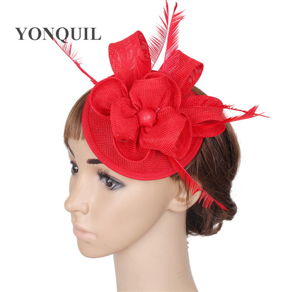 Beautiful DIY Floral ladies red weddings fascinators hats hot pink pillbox hat fedora cap bridal married headdress with fancy feather SYF30
