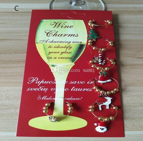 Hot New Year Christmas Wine Glass Decoration Charms Party Cup ring Table Decorations Xmas Pendants Metal Ring Decor Festive Party Supplies