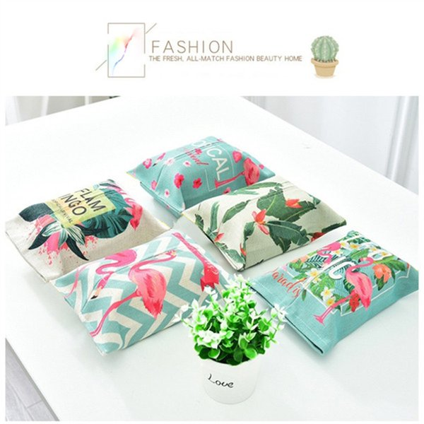 Hot Sale Instagram Style Flamingo Tissue Cover Colorful Household Supplies Linen Tissue Case Car Removable Paper Box 1pcs